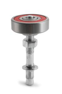 Ролик анкерный Ф52, , для удержания нижнего края ворот. Воспринимаемые радиальные нагрузки роликом до 250 кг. (регулировки по высоте 10-15мм.)